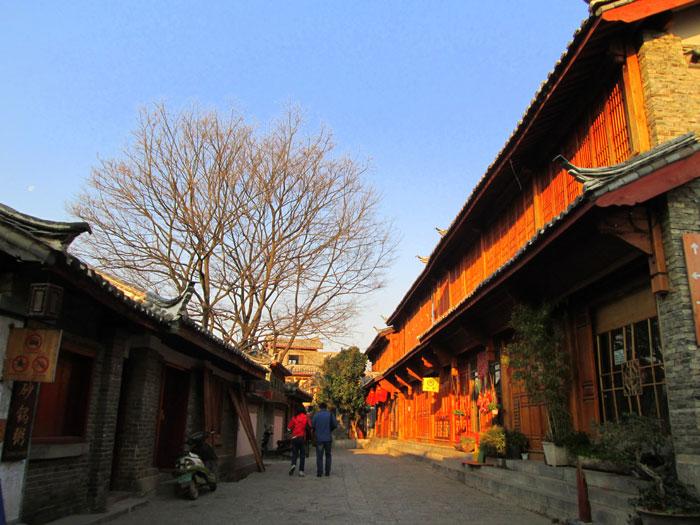 Suasana Kota Kuno Lijiang di pagi hari